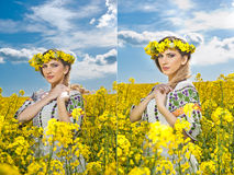 Young girl wearing Romanian traditional blouse posing in canola field with cloudy sky in background, outdoor shot Stock Photography