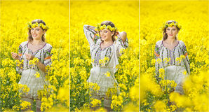 Young girl wearing Romanian traditional blouse posing in canola field, outdoor shot. Portrait of beautiful blonde with wreath Stock Photography