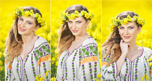 Young girl wearing Romanian traditional blouse posing in canola field, outdoor shot. Portrait of beautiful blonde with wreath Stock Images