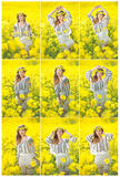 Young girl wearing Romanian traditional blouse posing in canola field, outdoor shot. Portrait of beautiful blonde with wreath Royalty Free Stock Images