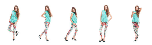 Young girl wearing  trendy chic clothes Stock Photography