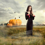 Young girl wearing witch costume royalty free stock image