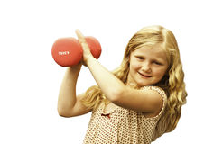 Young girl with weights. Young girl exercising with weights Royalty Free Stock Photos