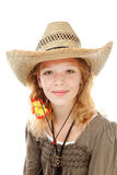 Young girl with western hat Stock Images