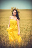 Young girl on wheat field Royalty Free Stock Images