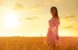 Young girl in wheat field Stock Photo