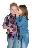 Young girl whispers something to her friend Royalty Free Stock Image