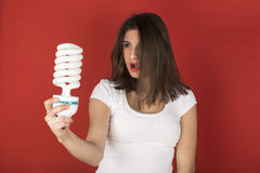 Young girl with white bulb Royalty Free Stock Image