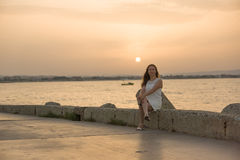 Young girl in a white dress Royalty Free Stock Photo