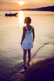 Young girl in a white dress Royalty Free Stock Photos