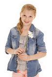 Young girl with white flower Stock Photo