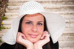 Young girl with white hat Stock Photo