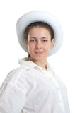 A young girl in a white hat Royalty Free Stock Photo