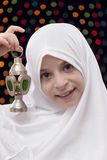 Young Girl in White Hejab Holding Ramadan Lantern Royalty Free Stock Photos