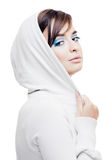 Young girl in a white hood Royalty Free Stock Photography