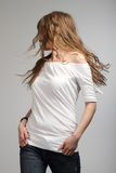 Young Girl In White T-Shirt Spinning Around Royalty Free Stock Photography