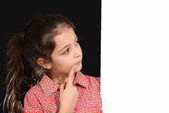 Young girl with whiteboard Stock Photo