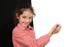 Young girl with whiteboard Stock Images