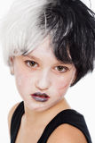 Young Girl in Wig and Scary Makeup Royalty Free Stock Images