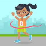 Young Girl Win the Race Little Runner Sport Banner Stock Photography