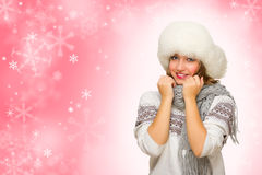Young girl on winter background Stock Photo