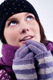 Young girl in winter clothing. Portrait of a beautiful young girl in winter clothing Stock Photos