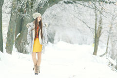young girl in winter garden Royalty Free Stock Photo