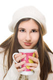 Young girl in winter outfit Stock Images