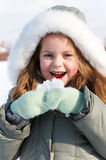Young girl in winter park Royalty Free Stock Photo