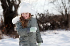 Young girl in winter park Stock Photography