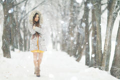 Young girl in winter snowy park Stock Image