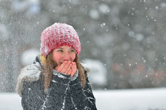 Young girl in winter time Royalty Free Stock Images