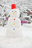 Young  girl  in wintertime making snowman Stock Photos