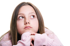 Young girl wishing isolated Stock Images