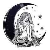 Young girl witch with long wavy hair sitting on the moon. Young girl witch with long wavy hair falling to the ground sitting on the crescent moon. Nude modest Royalty Free Stock Image