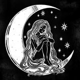 Young girl witch with long wavy hair sitting on the moon. Young girl witch with long wavy hair falling to the ground sitting on the crescent moon. Nude modest Stock Photo