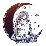 Young girl witch with long wavy hair sitting on the moon. Young girl witch with long wavy hair falling to the ground sitting on the crescent moon. Nude modest Stock Images