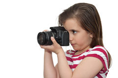 Young Girl With A Professional Camera Royalty Free Stock Photography