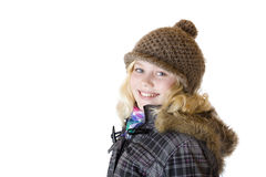 Young Girl With Cap, Scarf And Jacket Smiles Happy Stock Images