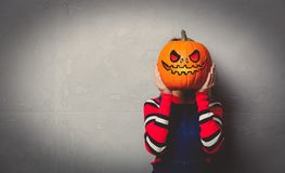 Free Young Girl With Halloween Pumpkin Stock Photography - 124530742