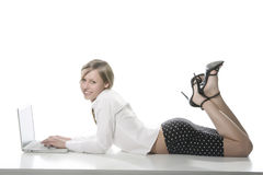 Young Girl With Laptop Computer Stock Image