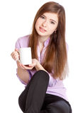 Young Girl With Mug With Coffee Royalty Free Stock Photo