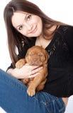 Young Girl With Puppy Of Dogue De Bordeaux Stock Photos
