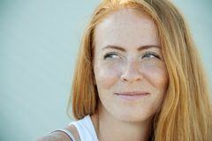 Young Girl With Red Hair And Freckles. Royalty Free Stock Photo