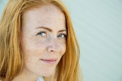 Young Girl With Red Hair And Freckles. Royalty Free Stock Images