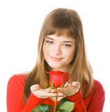 Young Girl With Rose Stock Photos