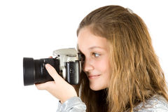 Young Girl With SLR Camera Royalty Free Stock Photography