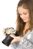 Young Girl With SLR Camera Stock Photography