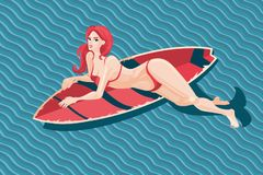 Young Girl With Surfboard. Sexy Woman In A Swimsuit With Surfing Board. Vector Cartoon Illustration, Pin Up Style. Stock Image
