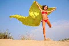 Free Young Girl With Yellow Fabric Shawl In Hands Royalty Free Stock Photo - 6793855